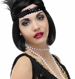Beaded Flapper Headband - Black