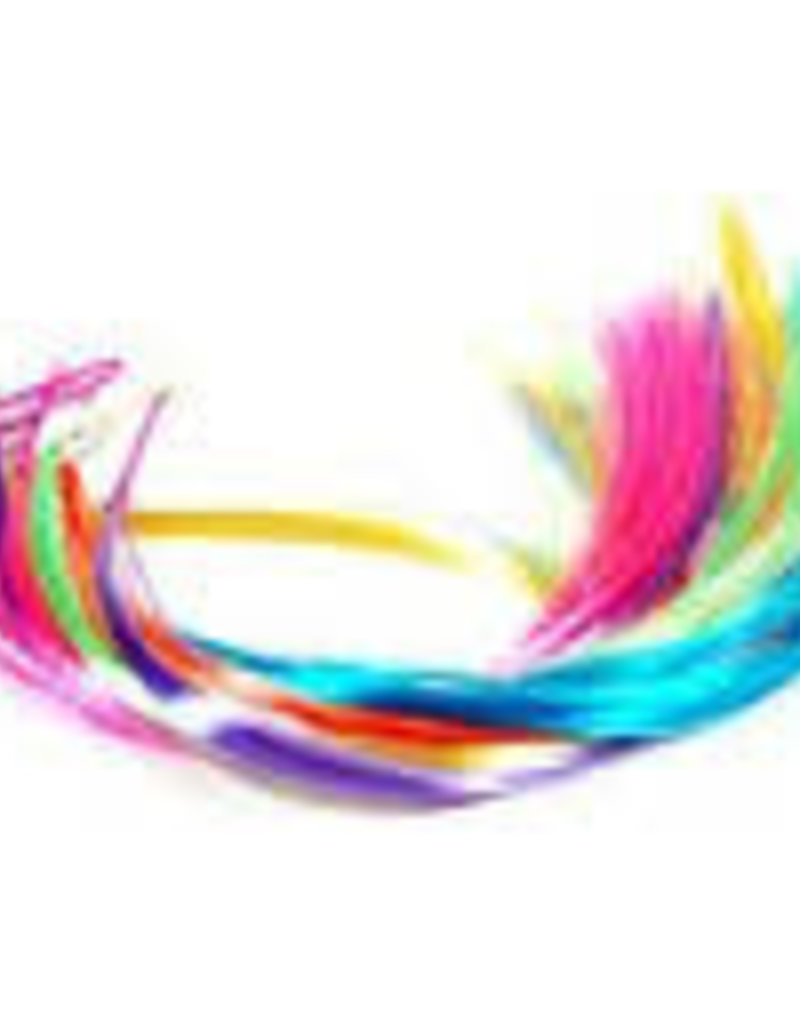 Neon Hair Extension Clip with Feather