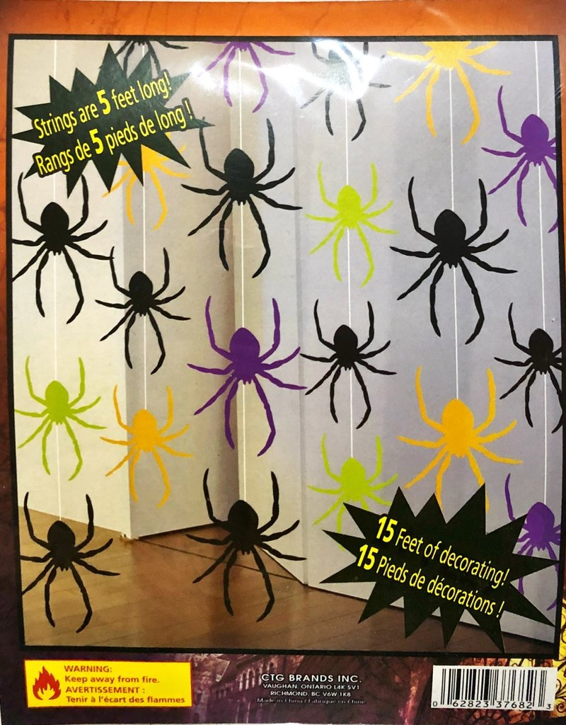 G.Ghouls 3pcs Hanging Foil Spiders  Decoration w/5' String