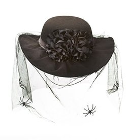 Black Halloween Hat with Spiders and Veil: Polyester - 12 x 4 inches