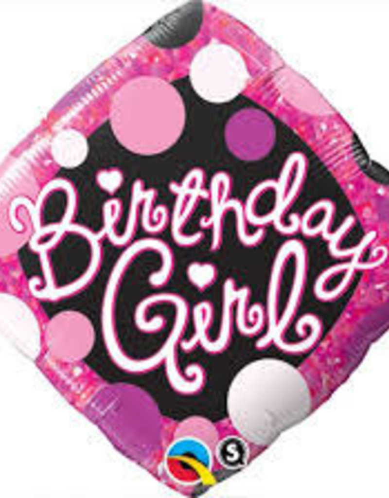 "Qualatex 18"" Birthday Girl Pink & Black"