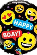 "Qualatex SMILEYS HAPPY BDAY 18"" RND"