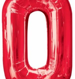 "Qualatex 34"" Number Zero - Red"