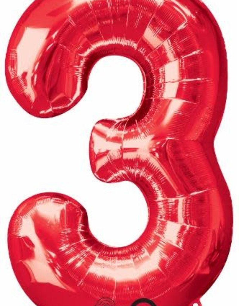 "Qualatex 34"" Number Three - Red"