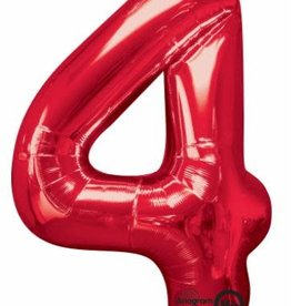"""Qualatex 34"""" Number Four - Red"""
