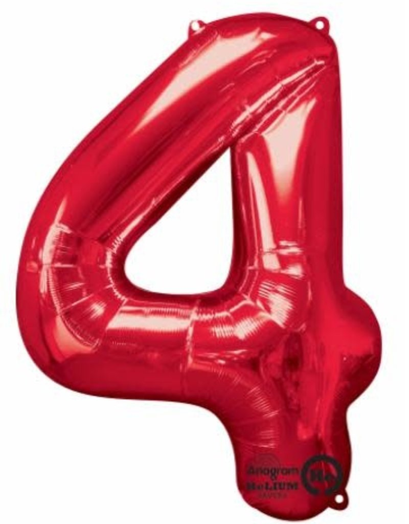 "Qualatex 34"" Number Four - Red"