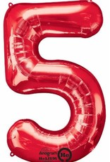 """Qualatex 34"""" Number Five - Red"""