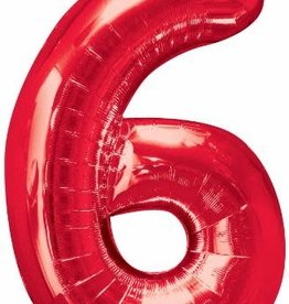 "Qualatex 34"" Number Six - Red"