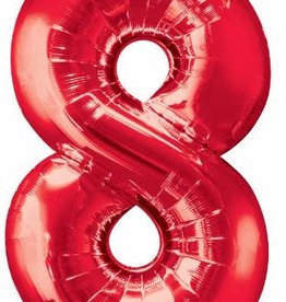 "Qualatex 34"" Number Eight - Red"