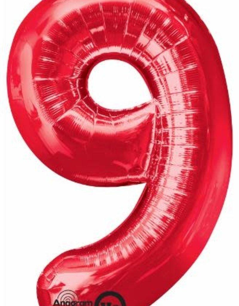 "Qualatex 34"" Number Nine - Red"