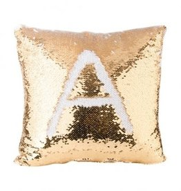 Flip Sequin Pillow Cover - Gold/White
