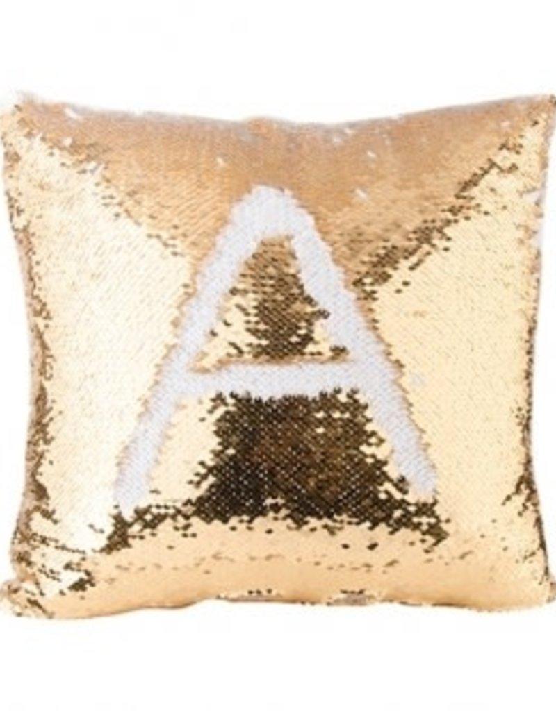 Flip Sequin Pillow Cover - Gold/White