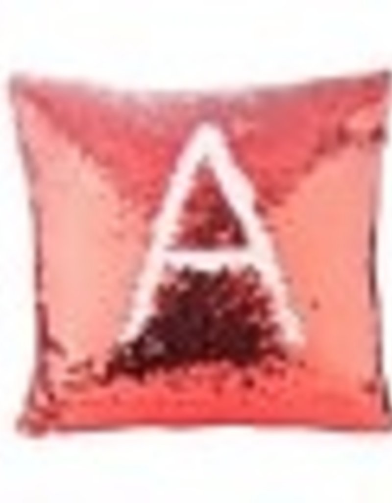 Flip Sequin Pillow Cover - Red/White