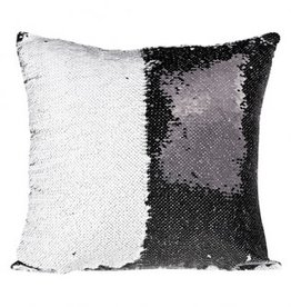 Flip Sequin Pillow Cover - Black/White