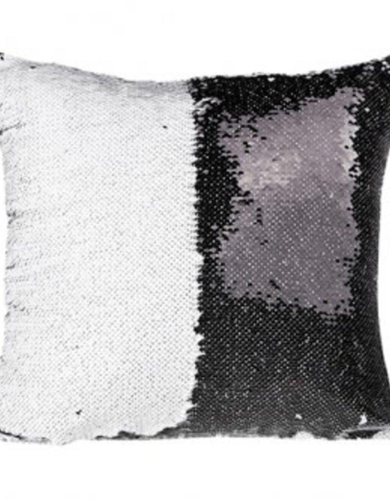 Flip Sequin Pillow Cover - Black/White