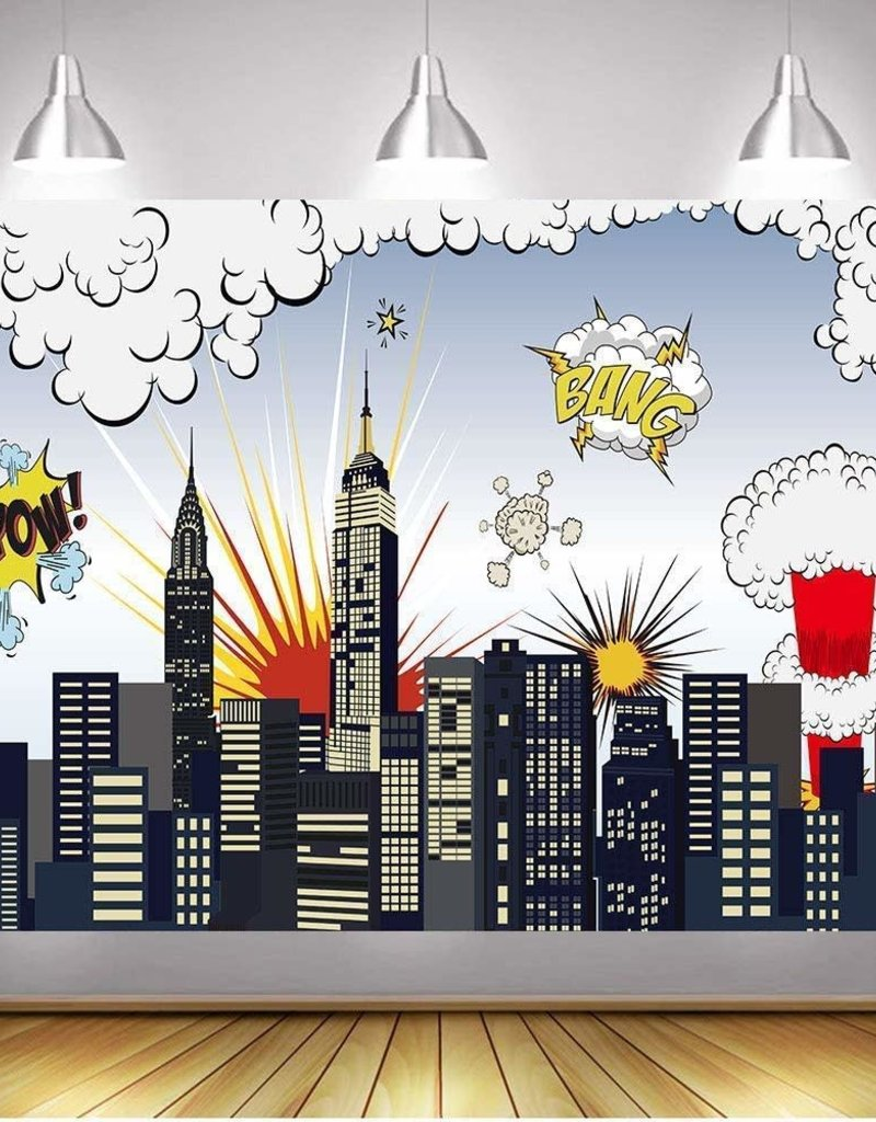 7'x5' Superhero City Backdrop