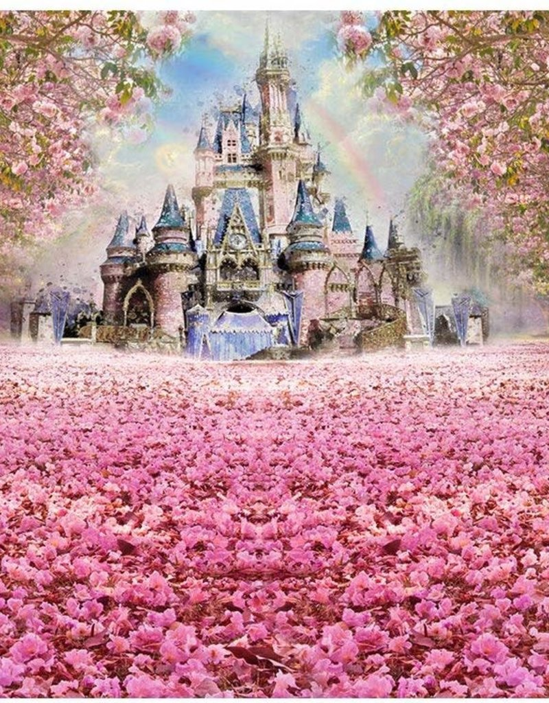 6.5'x5' Cherry Blossom Castle Backdrop