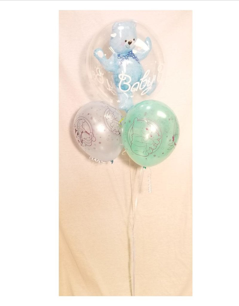 """1 Bubble with 3 Latex (11"""") Balloon Bouquet"""