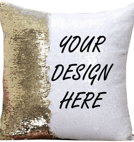 Personalized Flip Sequin Pillow Cover (One Side) - Gold/White