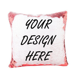 Personalized Flip Sequin Pillow Cover (One Side) - Red/White