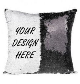 Personalized Flip Sequin Pillow Cover (One Side) - Black/White