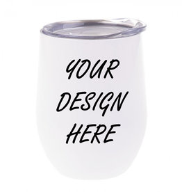 Personalized 12oz Stainless Steel Wine Tumbler - White