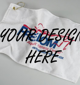 Personalized White Golf Towel with Grommet & Hook