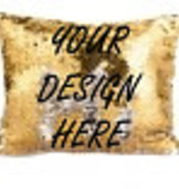 Personalized Flip Sequin Makeup Bag - Gold/Silver