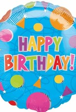 """Qualatex 18"""" Happy Birthday Dots and Triangles"""