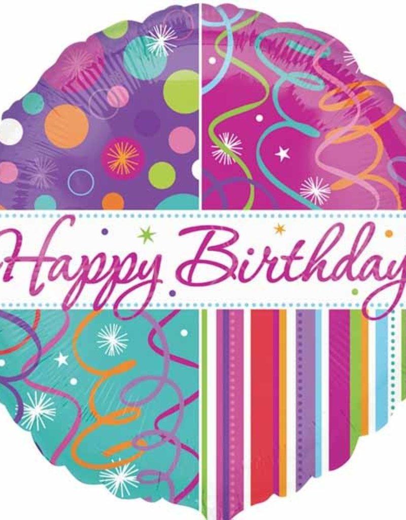 "Qualatex 18"" Happy Birthday Stripes & Streamers"