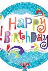"Qualatex 15"" Happy Birthday Blue Orbz"