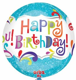 "Qualatex 15"" Happy Birthday Blue Orbz"