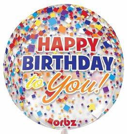 "Qualatex 15"" Happy Birthday Confetti Orbz"