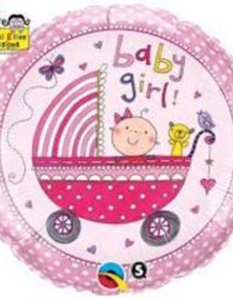 "Qualatex 18""  Baby Girl Foil Helium Balloons"