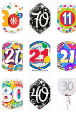 "Qualatex 18"" Happy B-Day Foil Helium Balloons"