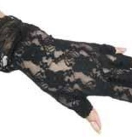 Fun World Fingerless Lace Gloves-Black