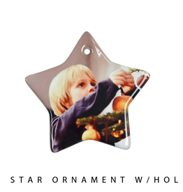 """PERSONALIZED 3"""" Star Ornament W/Hole"""