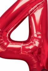 Qualatex Foil Jumbo Number 4 Helium Balloon