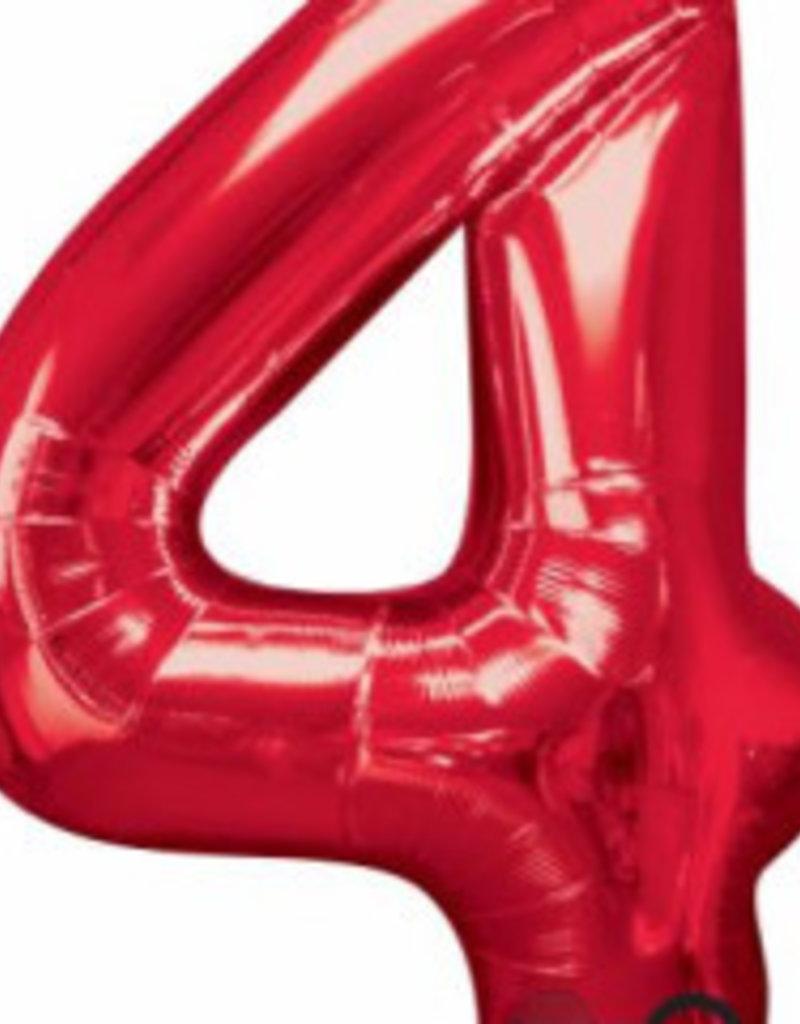Foil Jumbo Number 4 Helium Balloon
