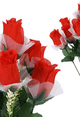 Forever Roses w/Lace &Baby Breath, Red