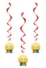 Emoji Hanging Swirl Decorations - 3ct