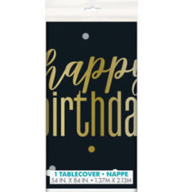 Metallic Happy Birthday Table Cover