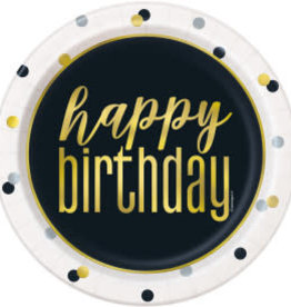 Metallic Happy Birthday Dessert Plates-7""