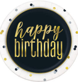 Metallic Happy Birthday Dinner Plates-9""