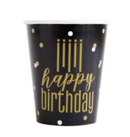 Metallic Happy Birthday Paper Cups-9oz