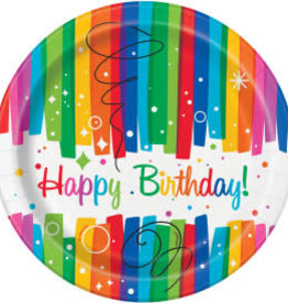 Rainbow Ribbons Birthday Dessert Plates-7""