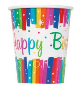 Rainbow Ribbons Birthday Paper Cups-9oz