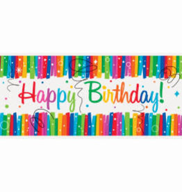 Rainbow Ribbons Birthday Wall Banner