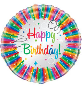 Rainbow Ribbons Birthday Foil Balloon-18""