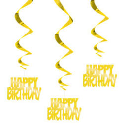 "Metallic ""Happy Bday"" Foil Hanging Swirl Decorations"